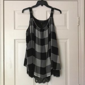 Lane Bryant Black & Gray Top with lace detail